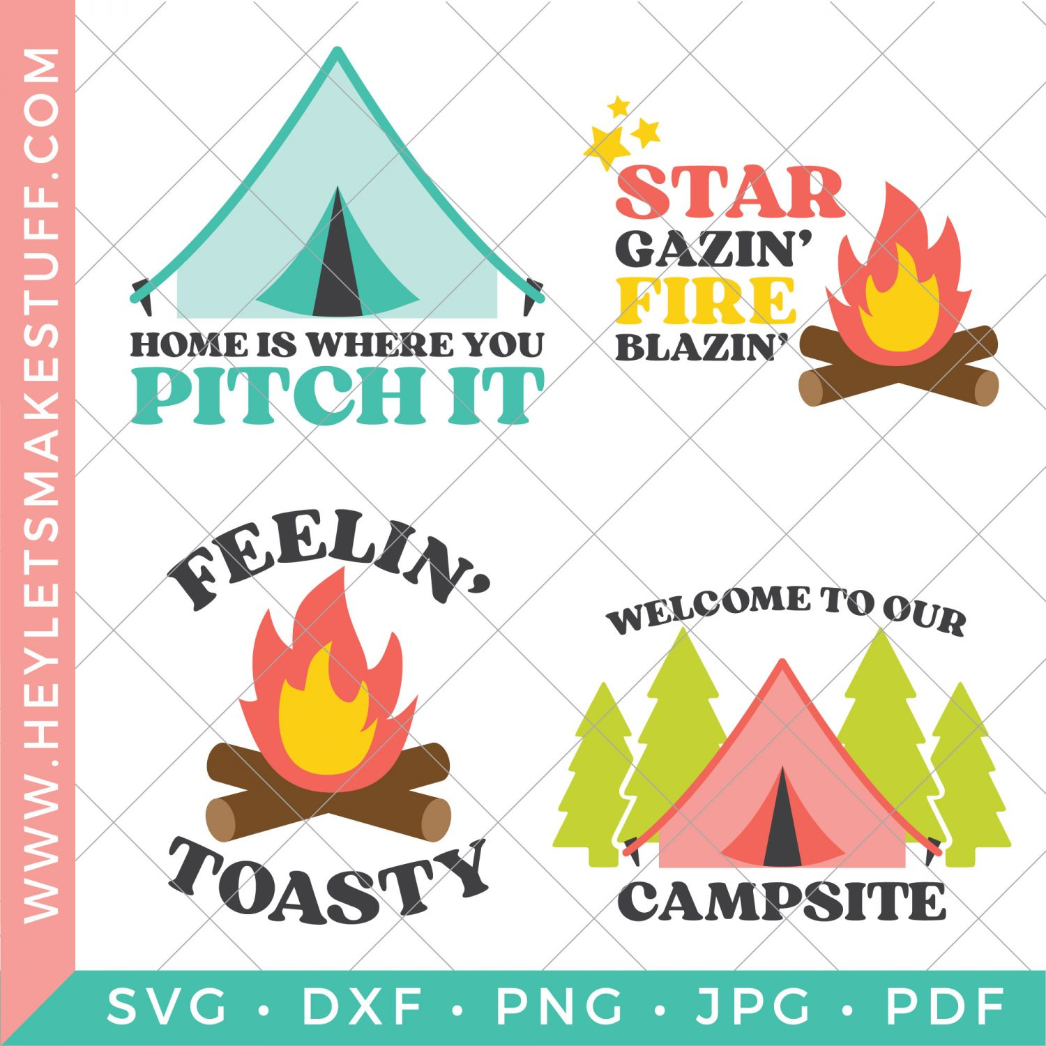 set of four camping SVG files