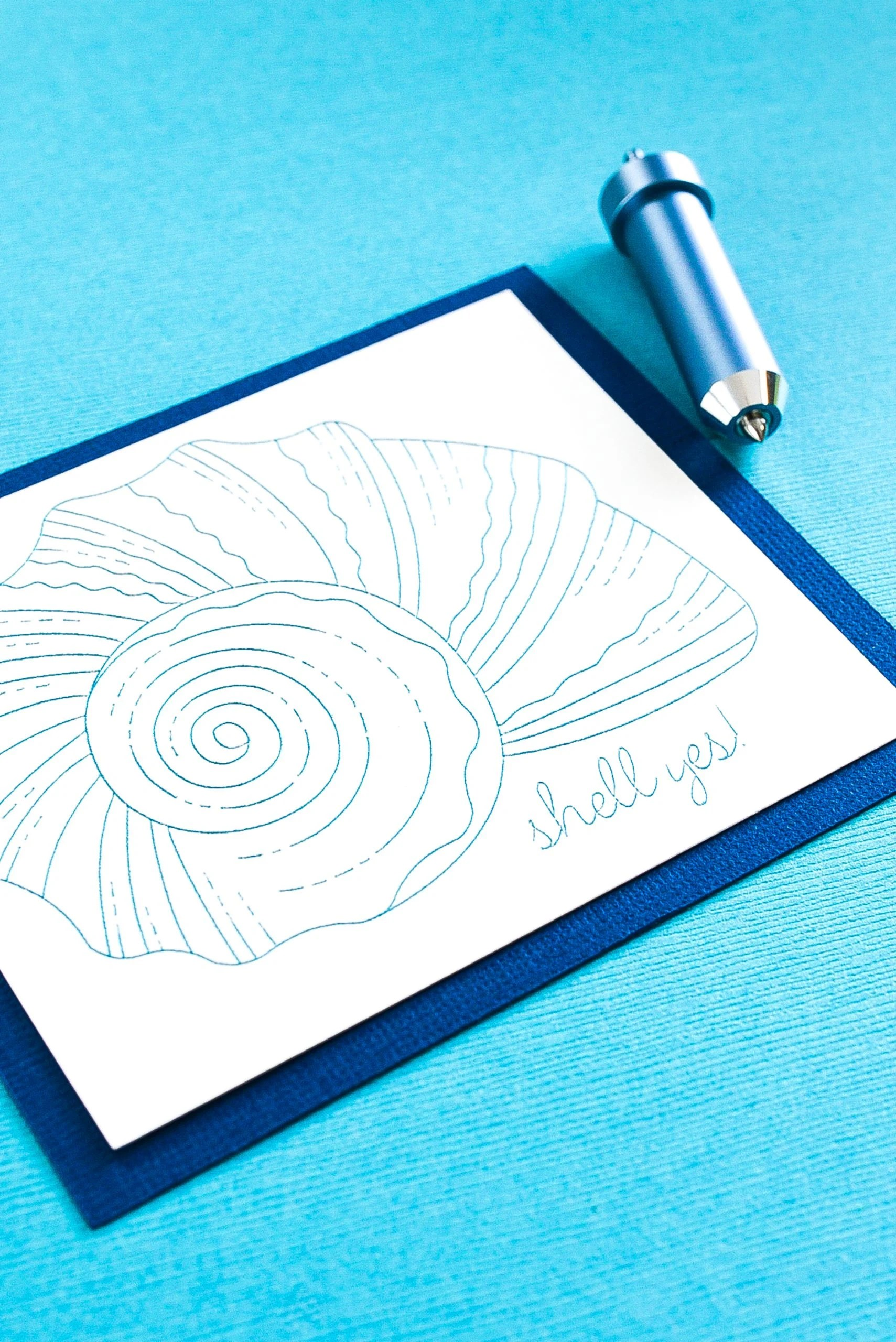 """Card with """"Shell yes"""" and shell image and Cricut foil transfer tool"""