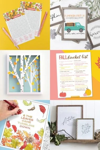 free fall printables collage