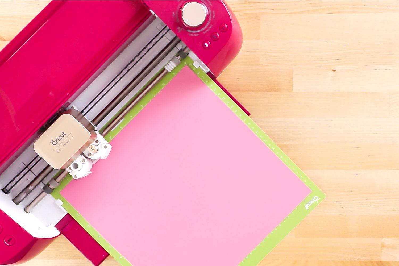 Cricut cutting pink iron on vinyl