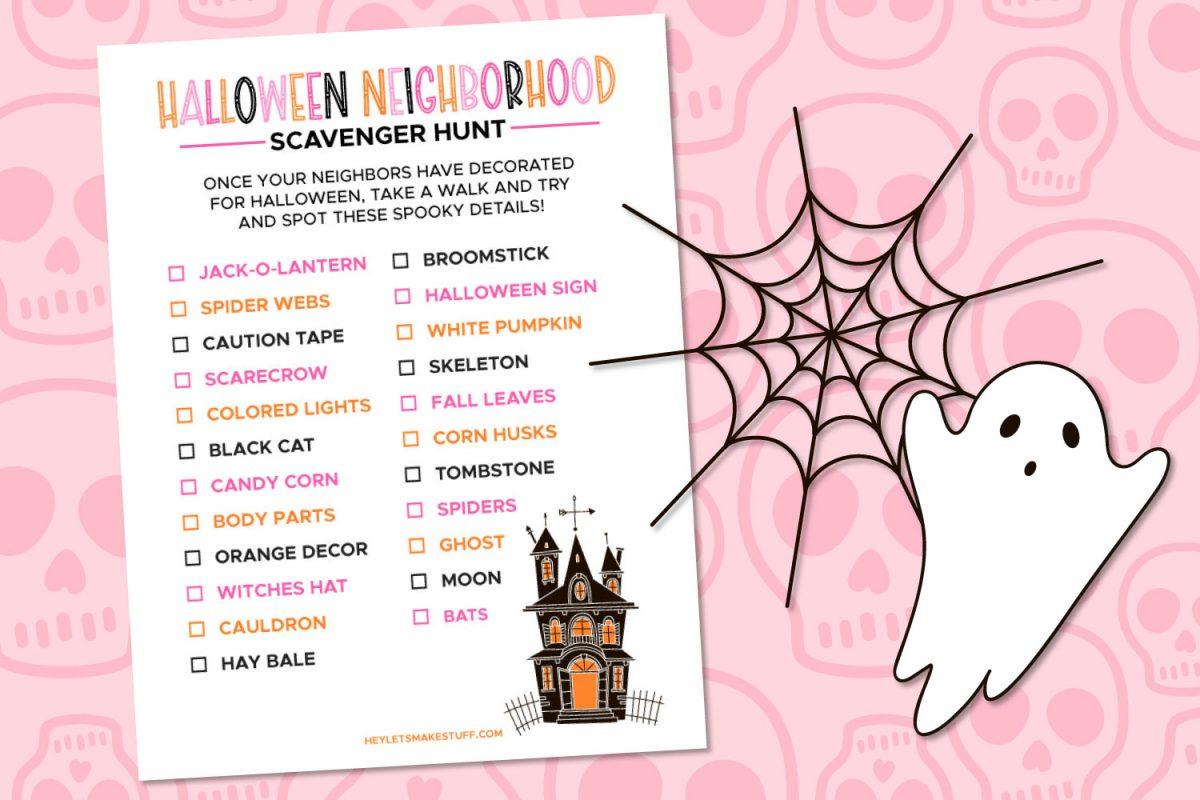 Halloween Scavenger Hunt on Pink Background