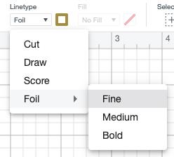 Design Space screenshot showing dropdown in under Linetype