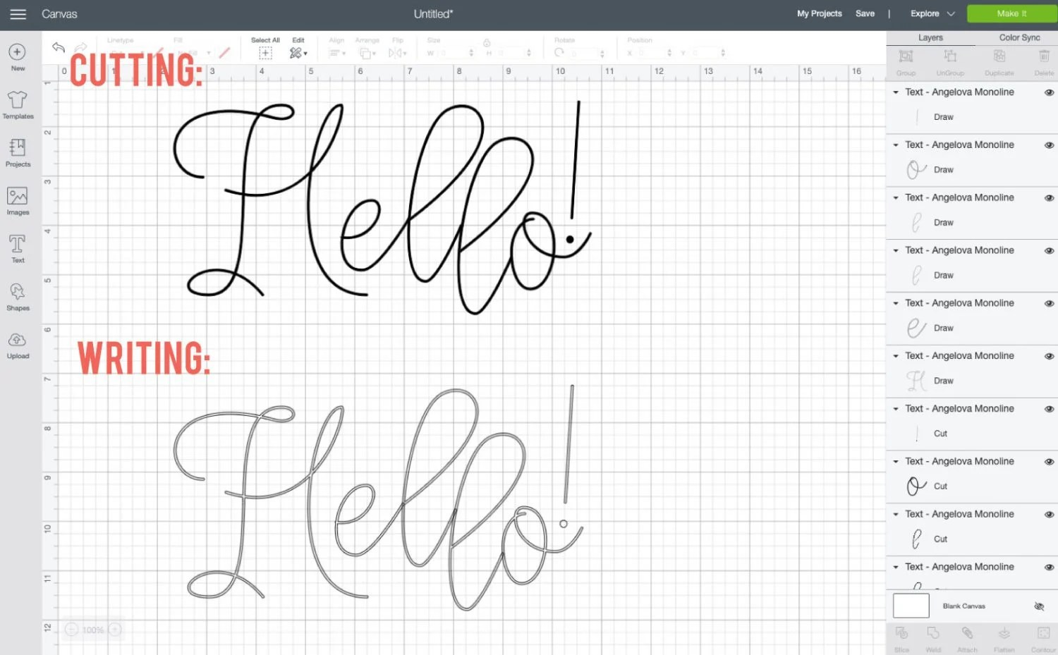 Comparison of Angelova font cutting and writing in Design Space