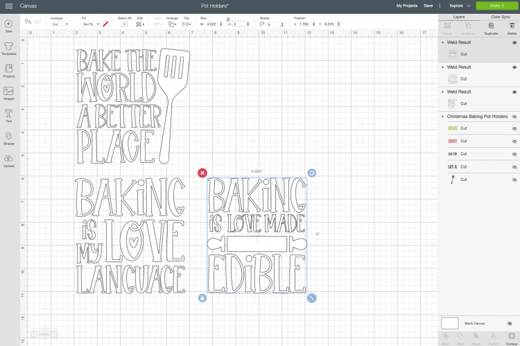 Cricut Design Space: recolored and resized images