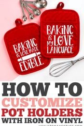 How to Customize Pot Holders with Iron On Vinyl pin image