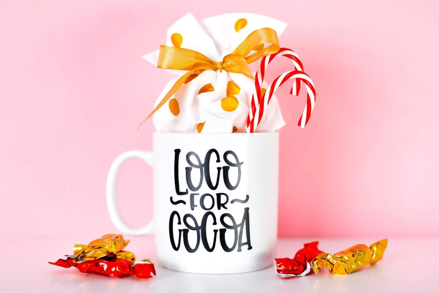 Finished loco for cocoa mug, staged with candy canes