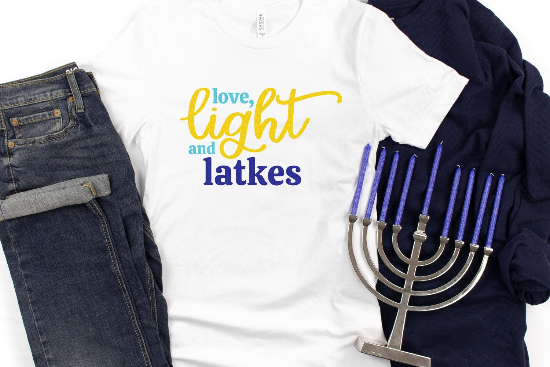 Love, Light and Latkes on white t-shirt