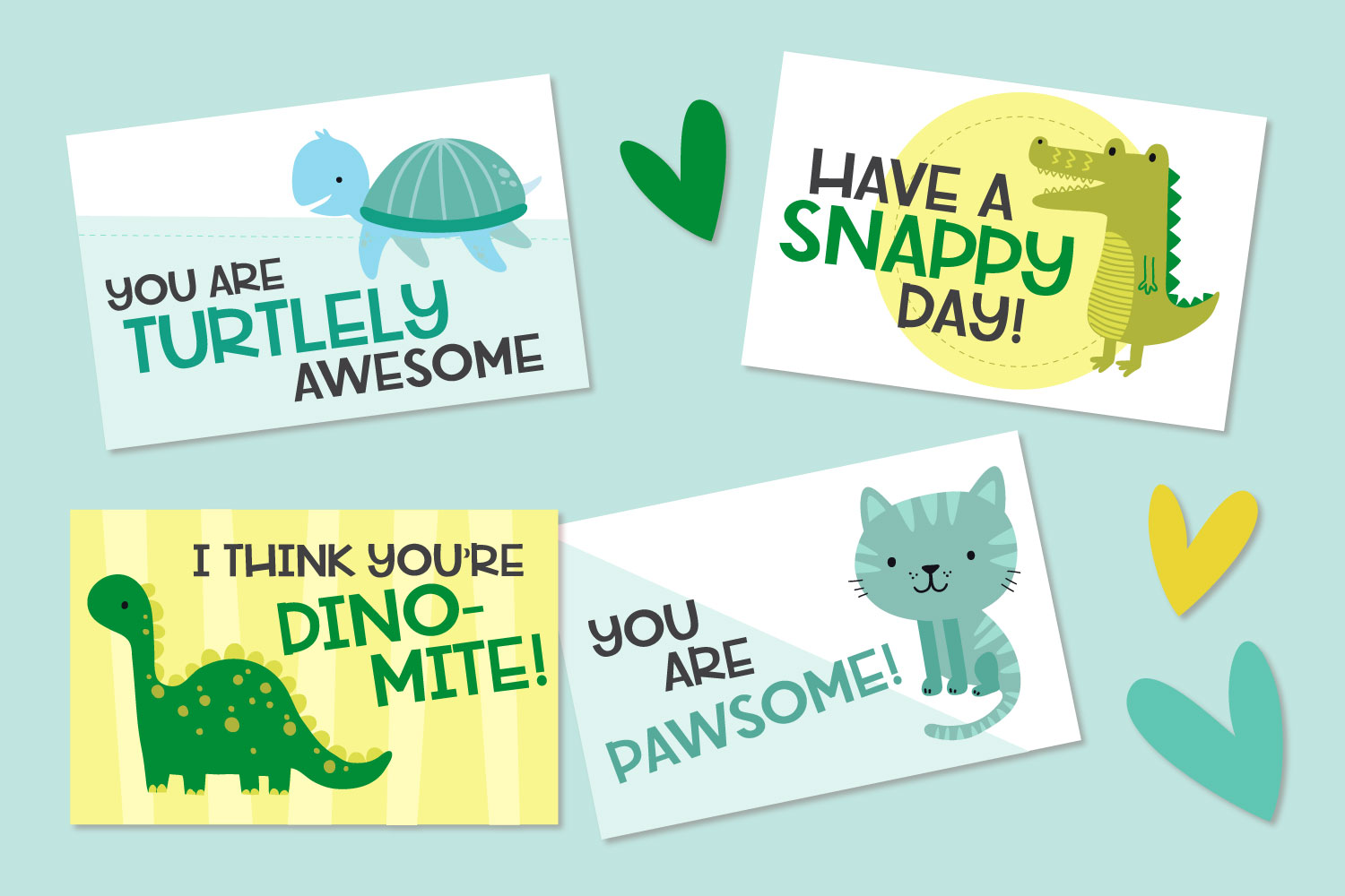 Four animal pun valentines mocked up on a blue background