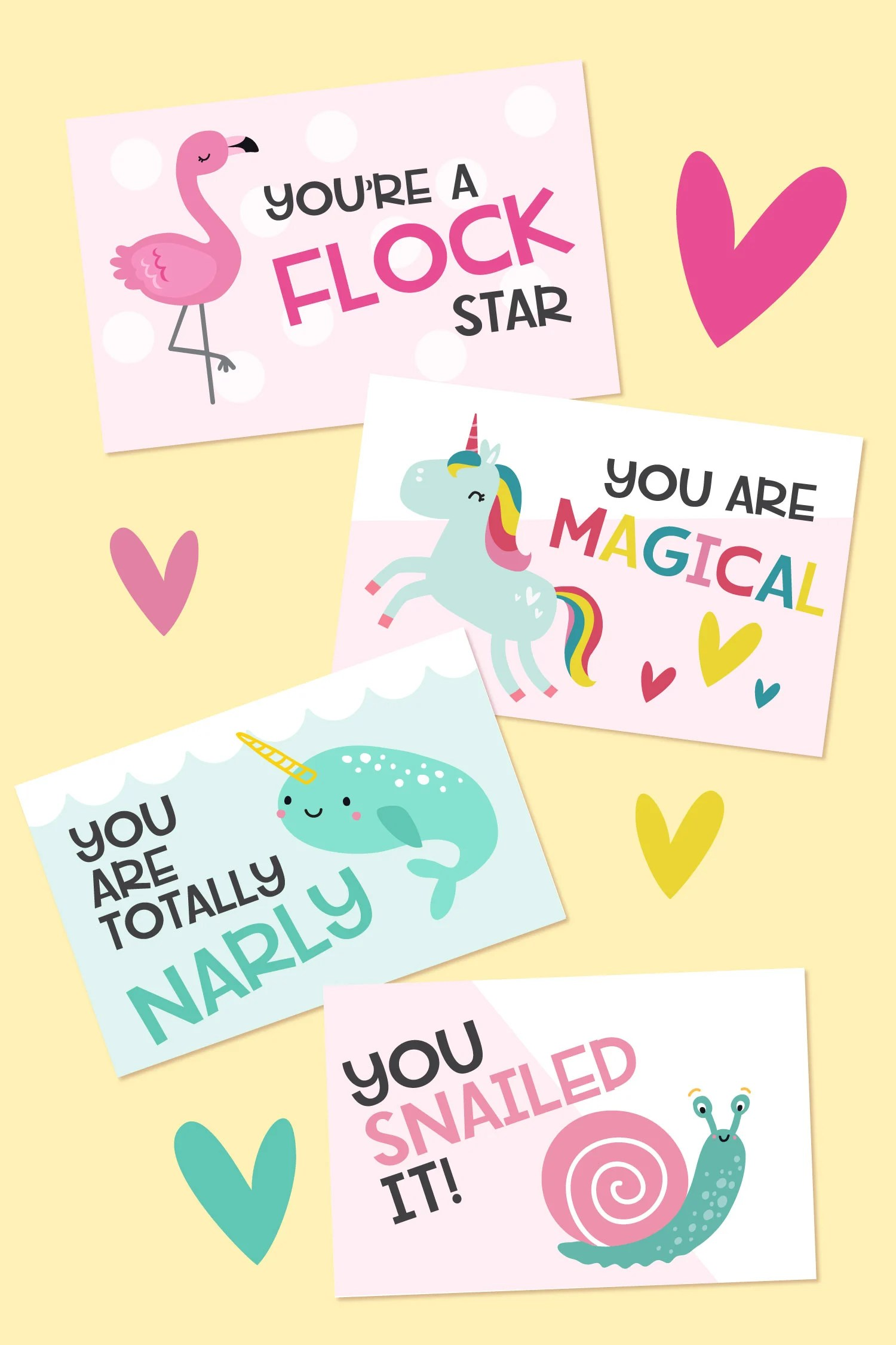 Mockup of valentines on a yellow background