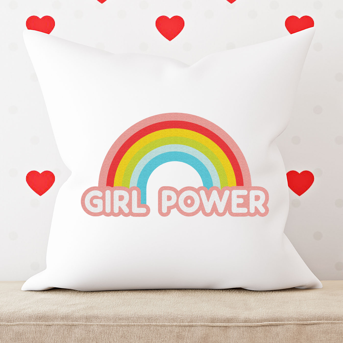 Girl Power image on pillow with heart wallpaper