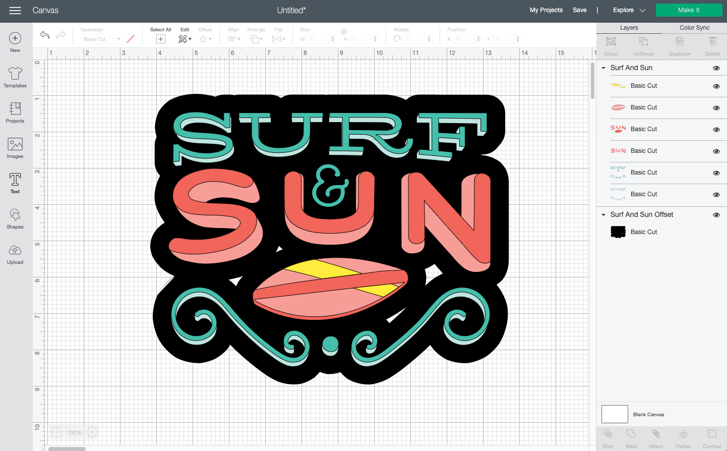 """Cricut Design Space: Surf and Sun image with offset (which has """"holes"""")"""