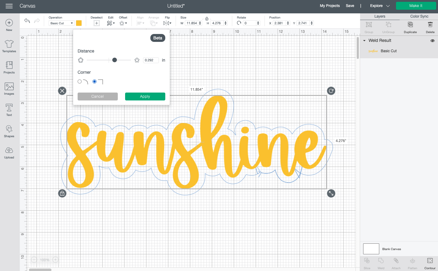 Cricut Design Space: Square offset on rounded text with glitchy offset
