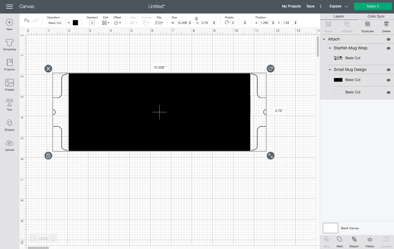 Cricut Design Space: Attached layers, all black