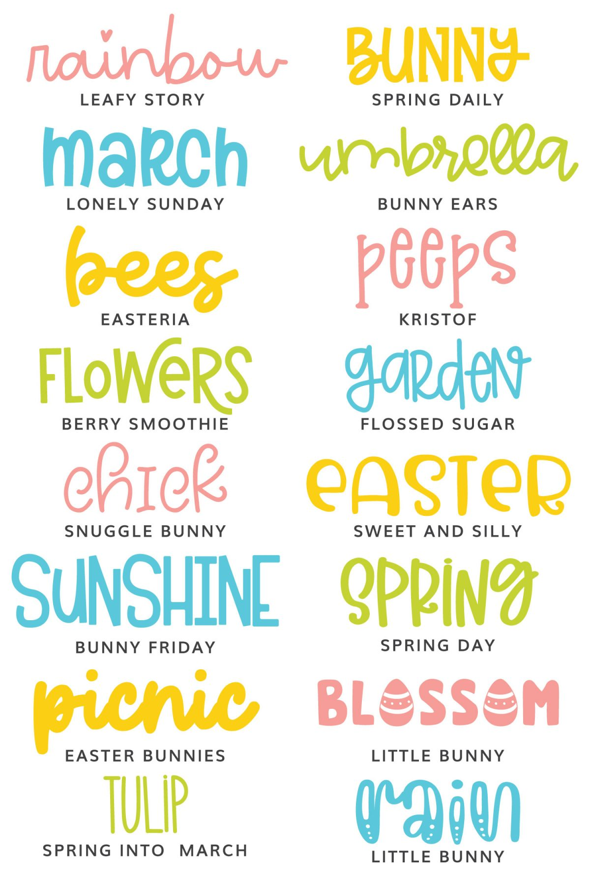 All the Easter fonts in this post