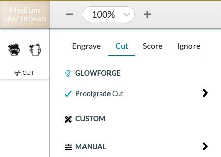 Glowforge App: Material Selection