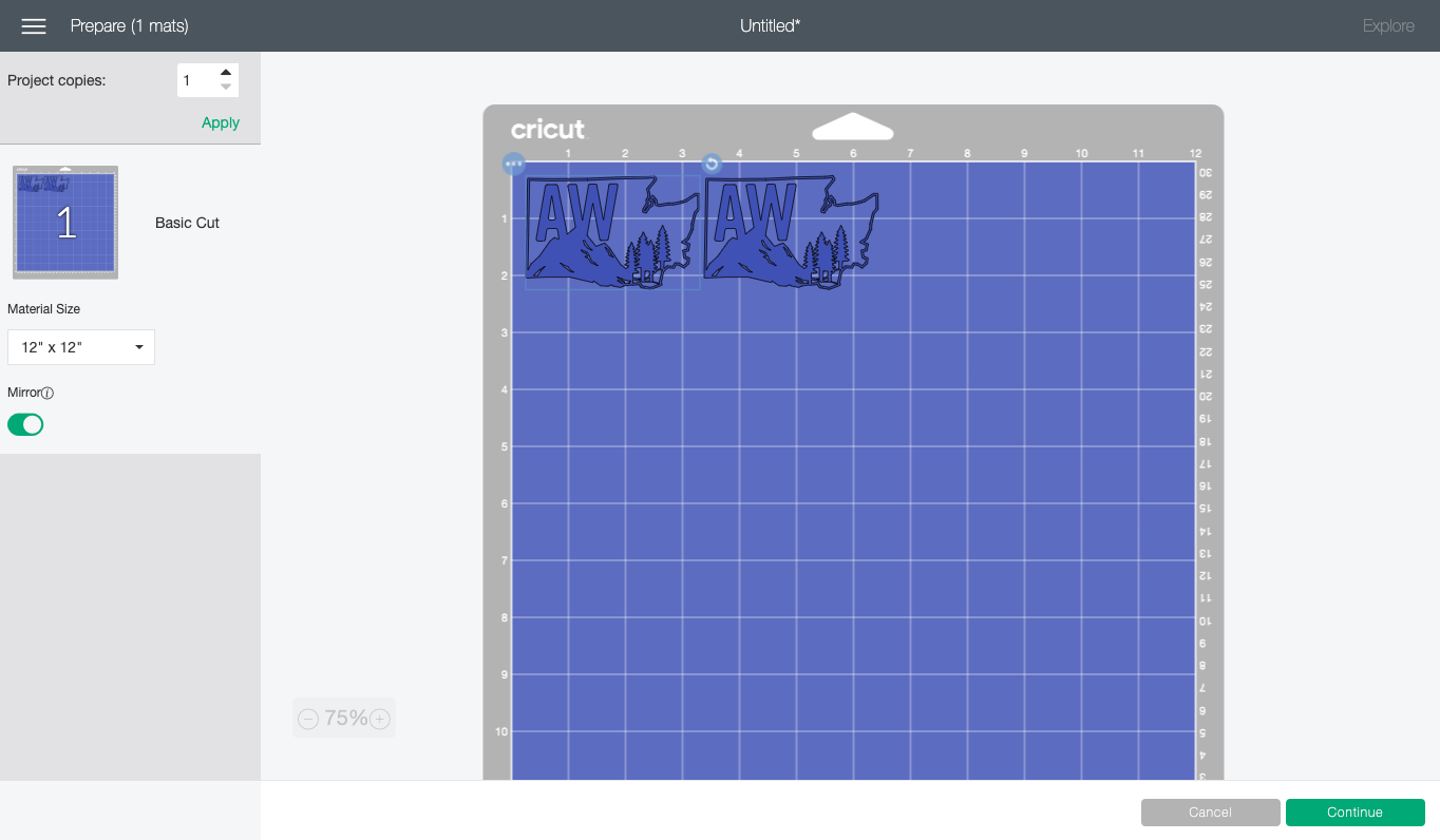 Cricut Design Space: Washington State image reversed on mat in prepare screen