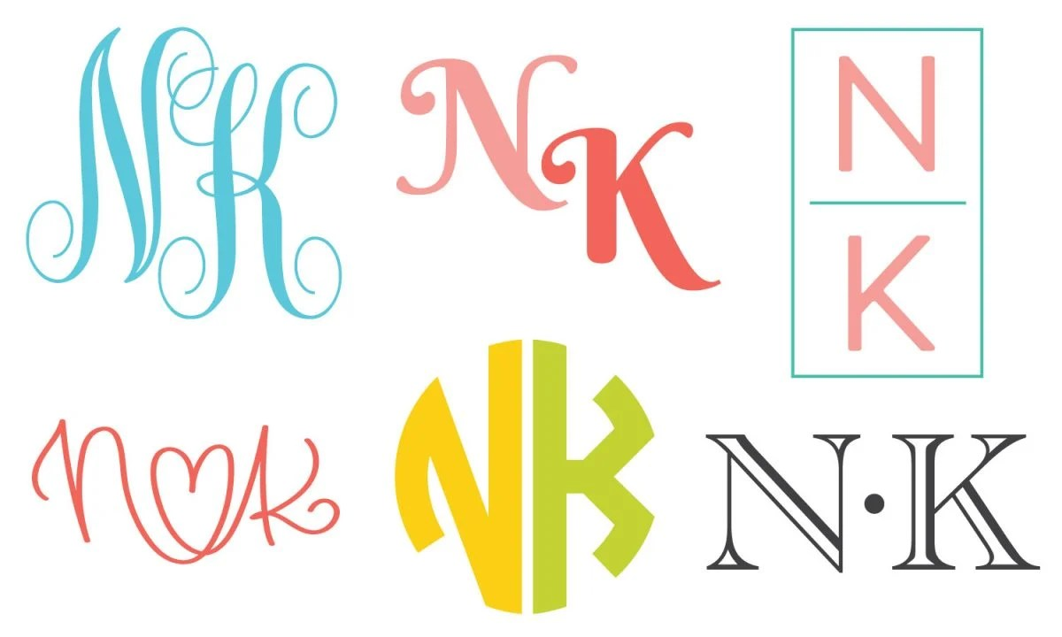 """Six styles of two-letter monogram """"NK""""s"""
