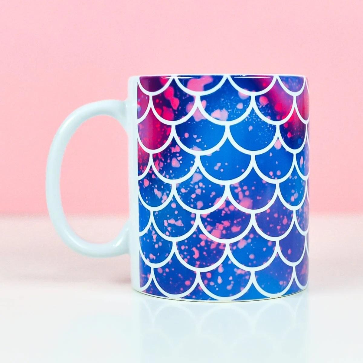 Mermaid mug on pink background made with mermaid mug wrap design