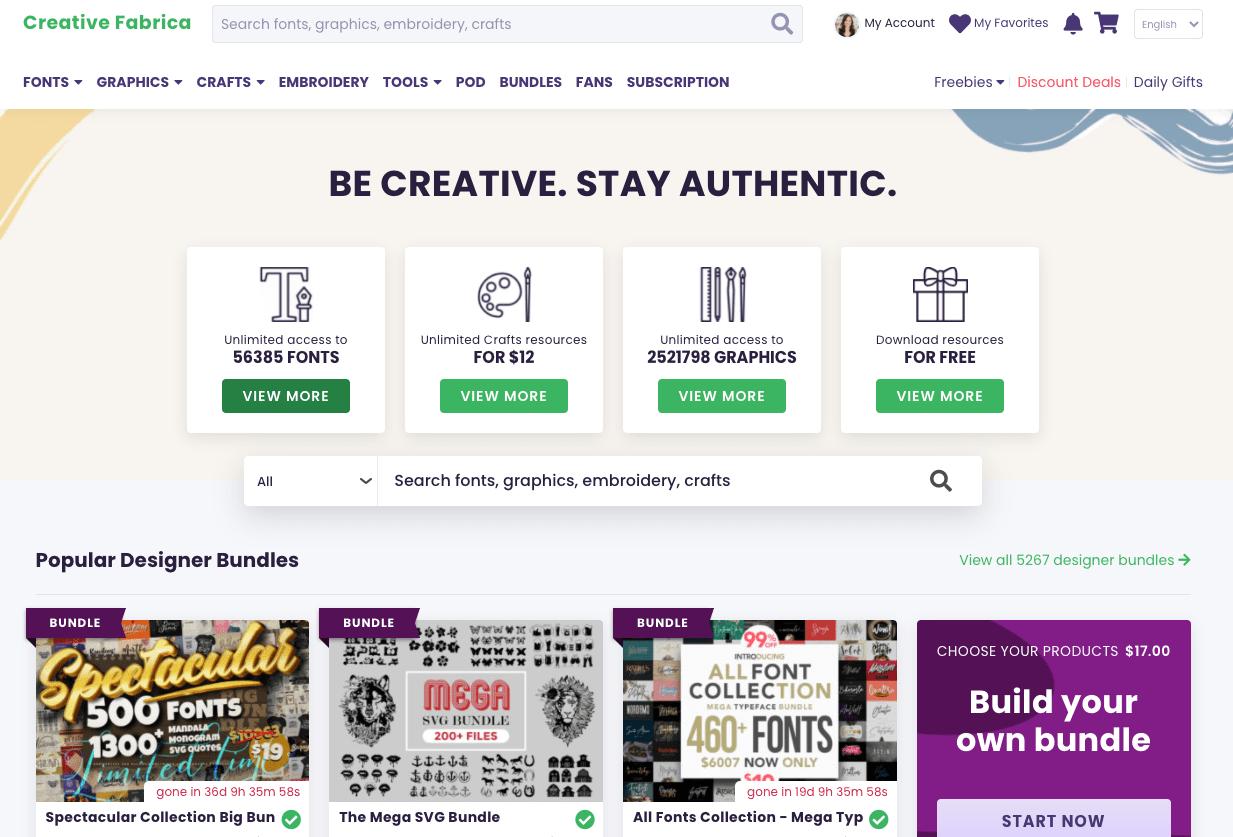 Screenshot of Creative Fabrica homepage