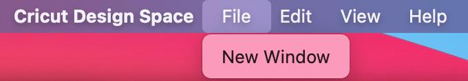 Screenshot of File > New Window selected