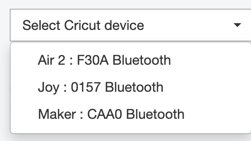 Screenshot of Cricut device dropdown