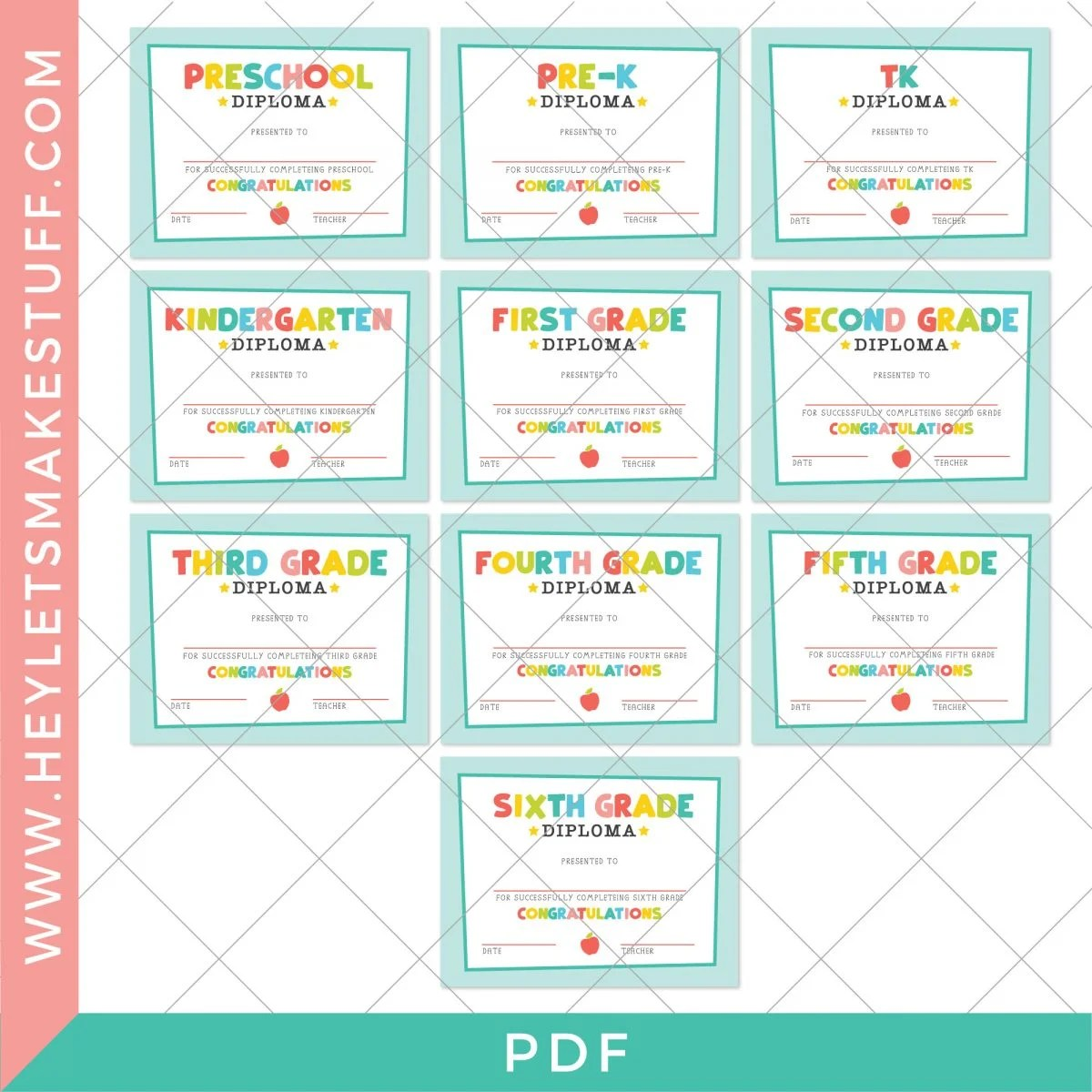 All graduation diplomas included in this free download