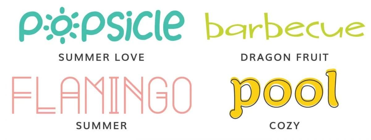 Font examples: Summer Love, Dragon Fruit, Summer, Cozy