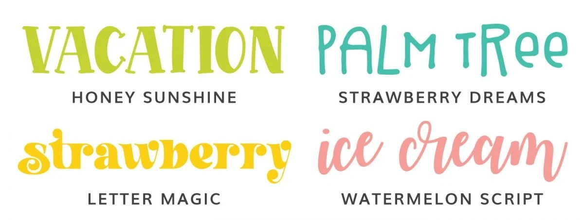 Font Examples: Honey Sunshine, Strawberry Dreams, Letter Magic, Watermelon Script