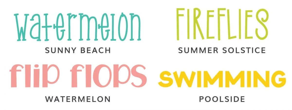 Font Examples: Sunny Beach, Summer Solstice, Watermelon, Poolside