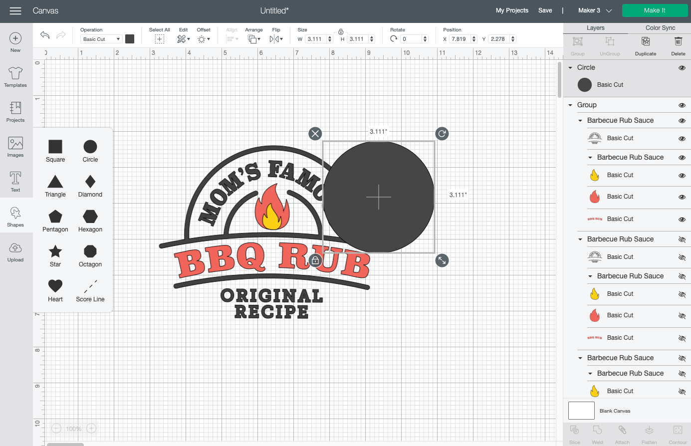 Cricut Design Space: Circle added using the Shapes Tool.