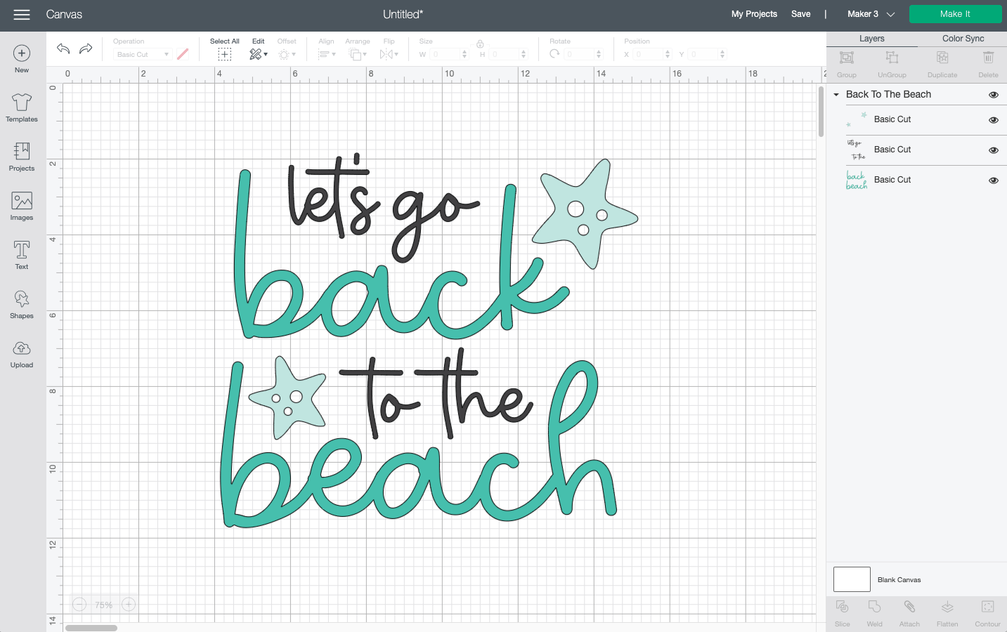 Cricut Design Space: Let's Go Back to the Beach file on the Canvas