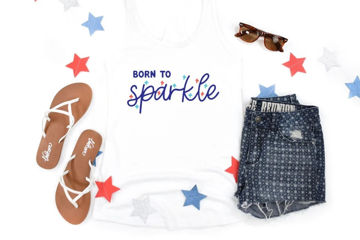 Born to Sparkle on white t-shirt with 4th of July decor