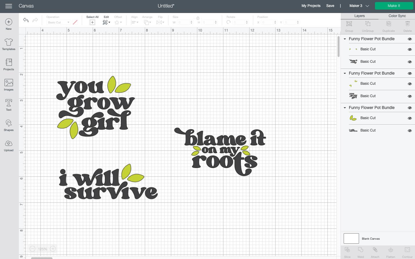 Cricut Design Space: resized funny flower pot SVGs on Canvas