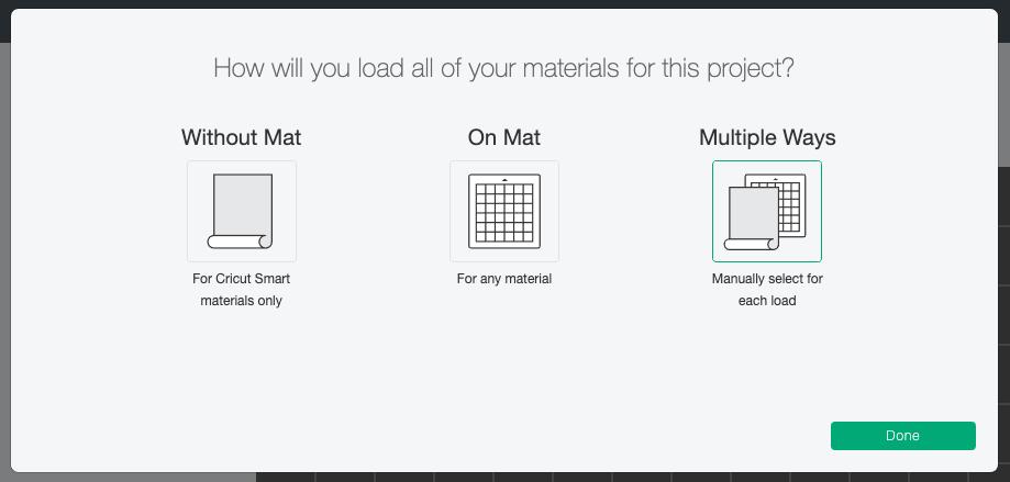Cricut Design Space: Mat Selection— Multiple Mats selected