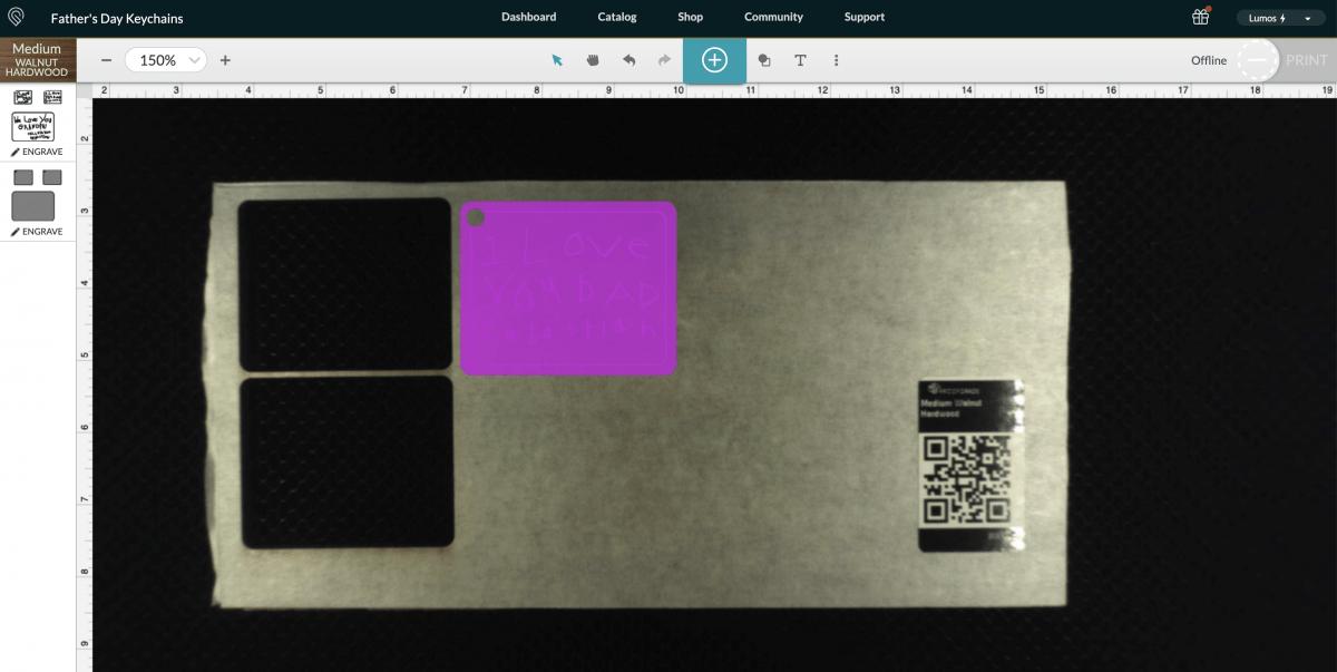 Glowforge: app showing uploaded keychain.