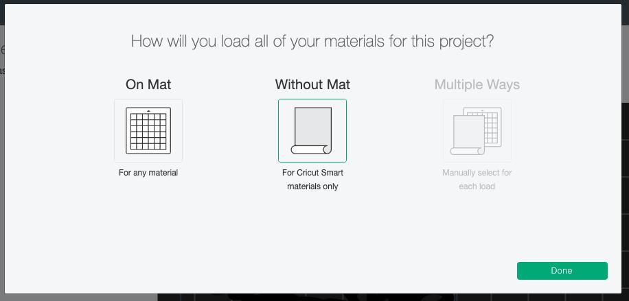 """Cricut Design Space: Choose """"without mat"""""""