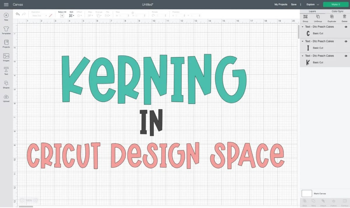 """""""Kerning in Cricut Design Space"""" written out in Design Space Canvas"""