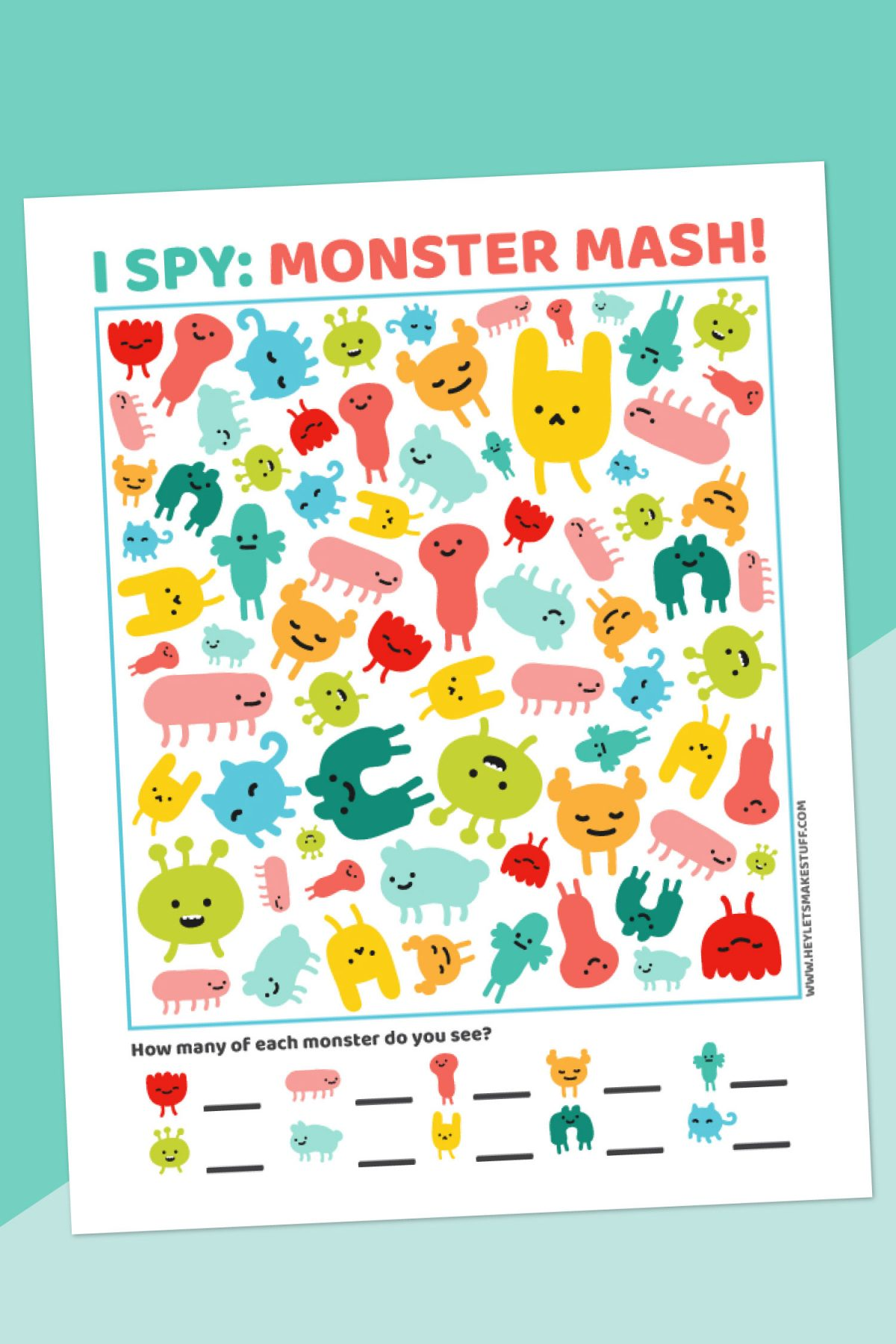 Monster I-Spy Printable on teal background with pen
