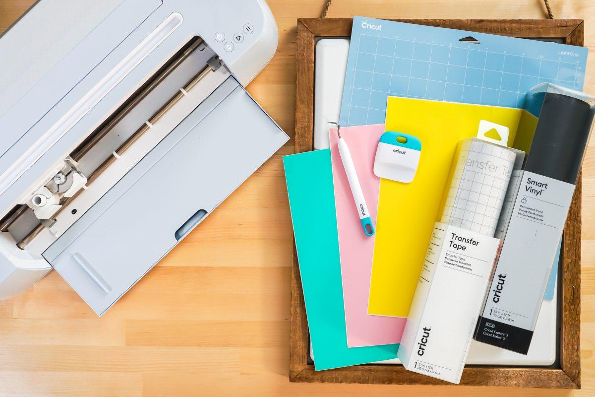 Supplies: Cricut, white board, vinyl, mat, weeding tool, scraper, transfer tape.