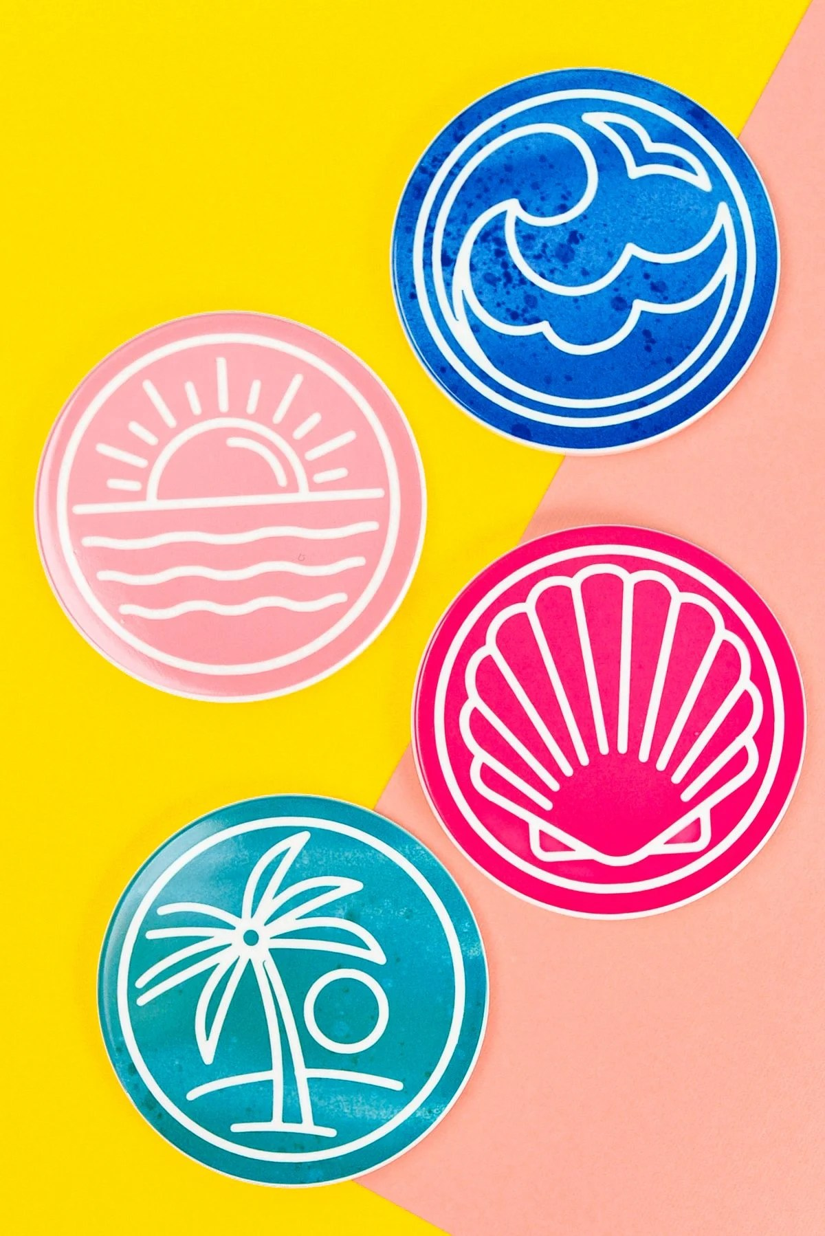 Final Summer Coasters on pink and yellow background