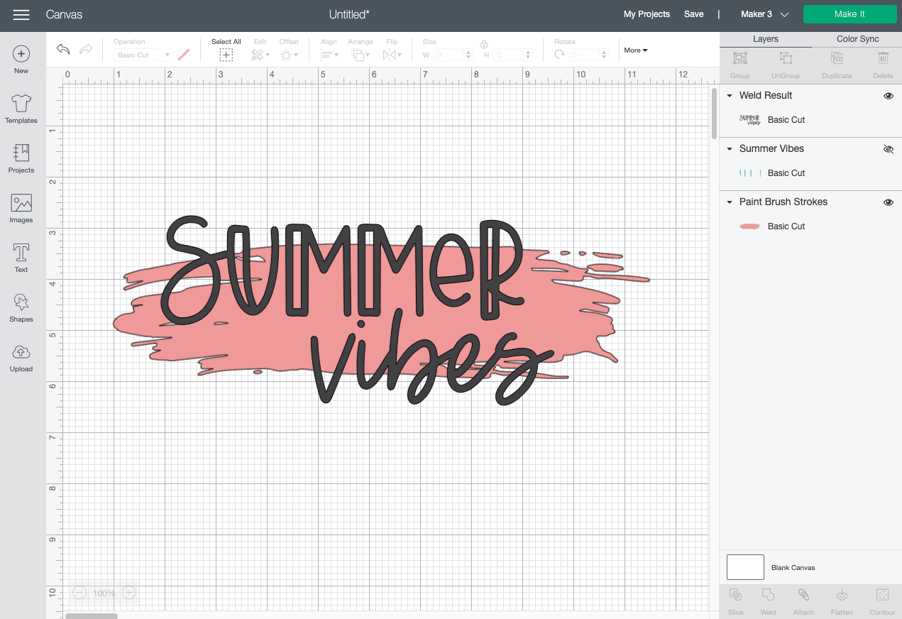 Cricut Design Space: Change color and resize image.