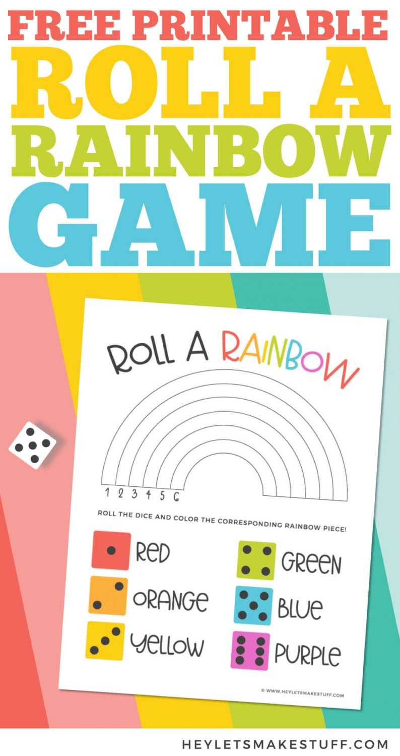 Free Printable Roll a Rainbow Game Pin