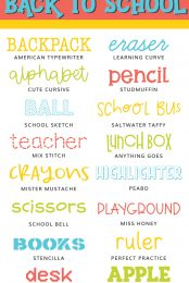 Back to School Fonts Pin Image
