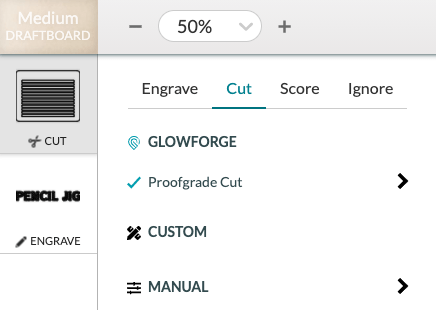 Glowforge app: settings for cut and engrave