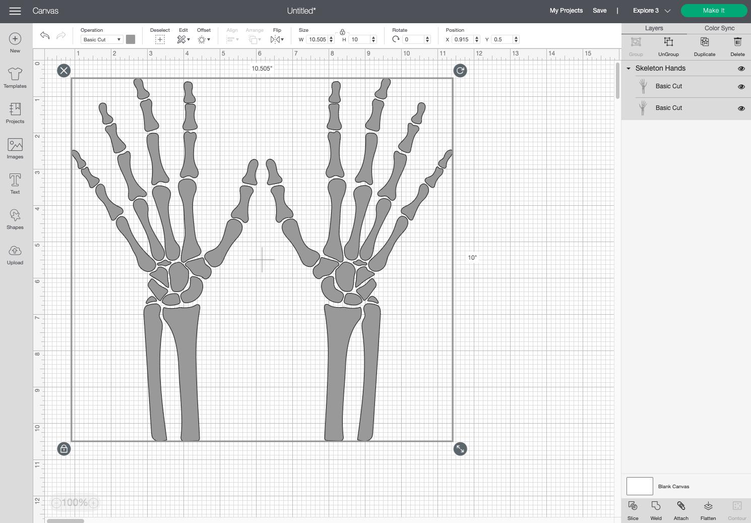 Cricut Design Space: Skeleton hands resized on Canvas