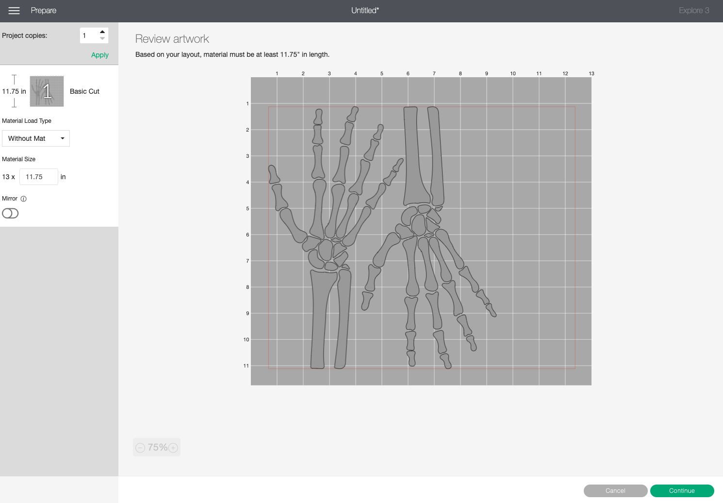 Cricut Design Space: Skeleton hands with one rotated to save material.