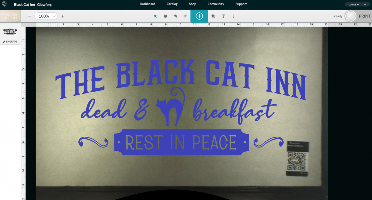 Glowforge App: Upload Black Cat Inn File