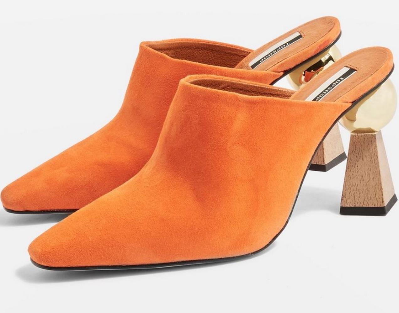 Topshop Pointed Toe Sculptural Heel Orange Mules