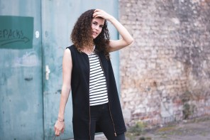 Organic black vest and striped shirt