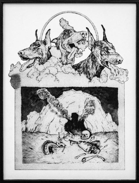 3 têtes, 2016. Gravure sur papier marouflé sur bois, 130 x 77 cm